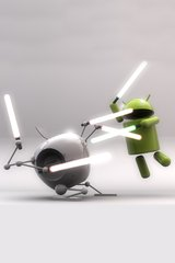 3D Android Apple Light Saber Fight Android Wallpaper