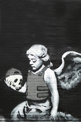 Banksy Cherub And Skull Android Wallpaper