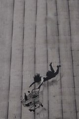 Banksy Girl Falling Shopping Cart Android Wallpaper