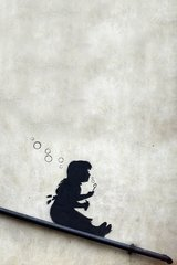 Banksy Girl Slide Bubbles Android Wallpaper