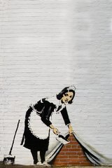 Banksy Maid Sweeping Android Wallpaper