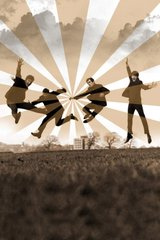 Beatles Jumping Sepia Android Wallpaper