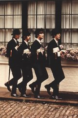 Beatles Top Hats Umbrellas Android Wallpaper