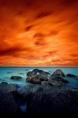 Beautiful Orange Sunset Blue Shore Android Wallpaper