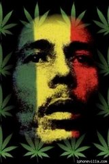 Bob Marley Face With Hemp Leave Android Wallpaper