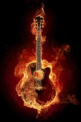 Music Guitar Flaming Android Wallpaper